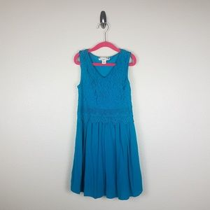 Knitworks Kids Dress 7 Turquoise Blue Lace Floral